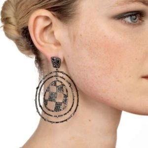 Alexis Bittar Pave Checkerboard Orbitting Earrings